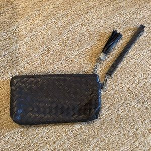 Cross Stitch Leather Wristlet